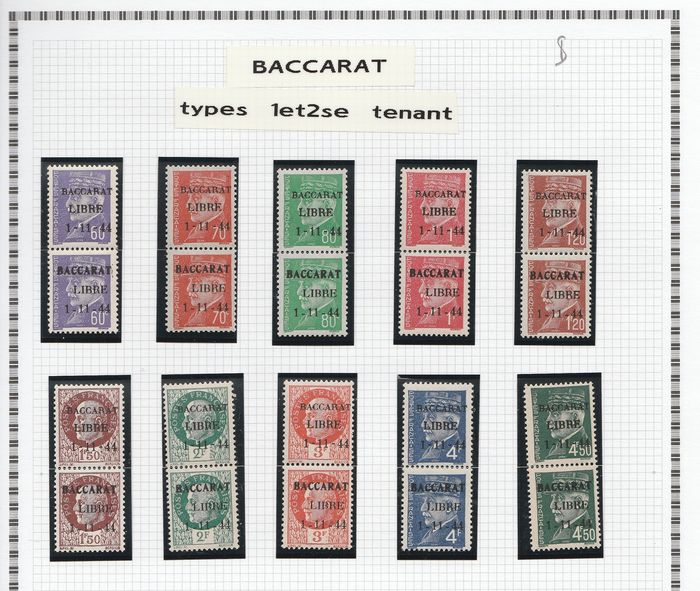 Frankreich 1944/1945 - A lovely set of liberation stamps from Baccarat to Bourgueuil, including signed ones. Value: over - mayer