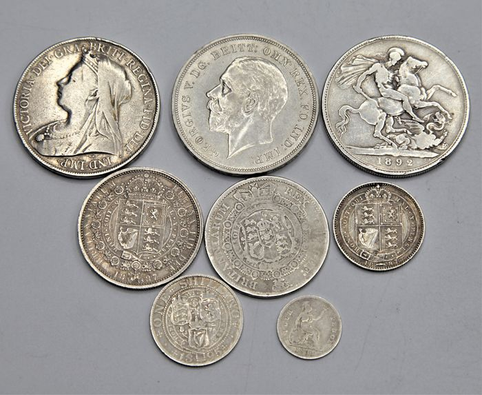 United Kingdom. 4 Pence up to and including Crown 1817/1935 (8 pieces)
