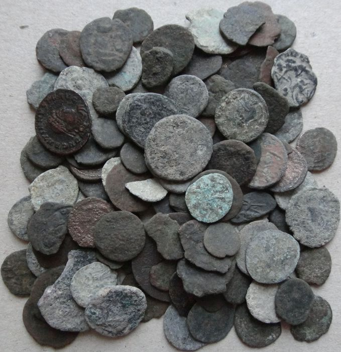 Roman Empire. Lot of 100 x AE coins (3rd - 5th century AD)