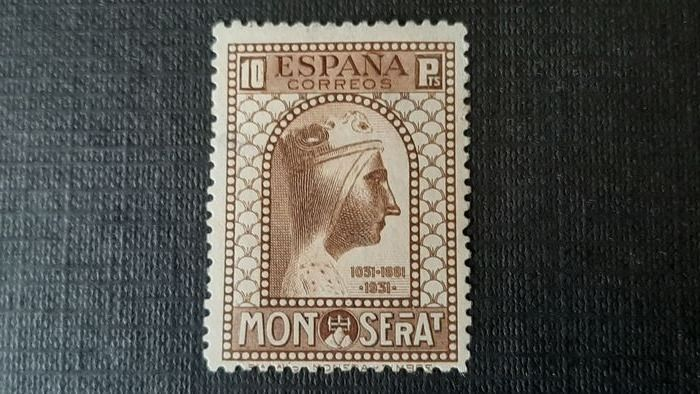 Spain 1931 - 9th Centennial of the Foundation of Montserrat Monastery. Key value of the series, 10 pts. Signed - Edifil 648