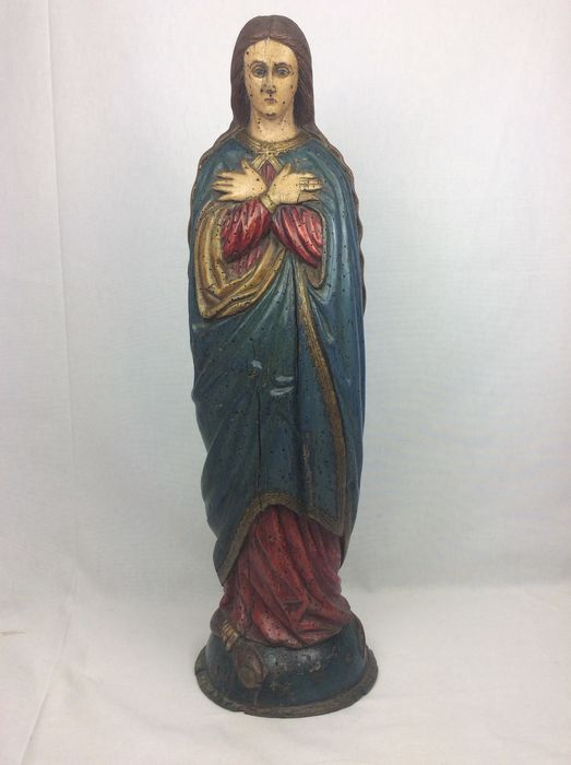 """Polychrome sculpture """"Mary tramples the snake"""" - Louis XV - Wood - 18th century"""