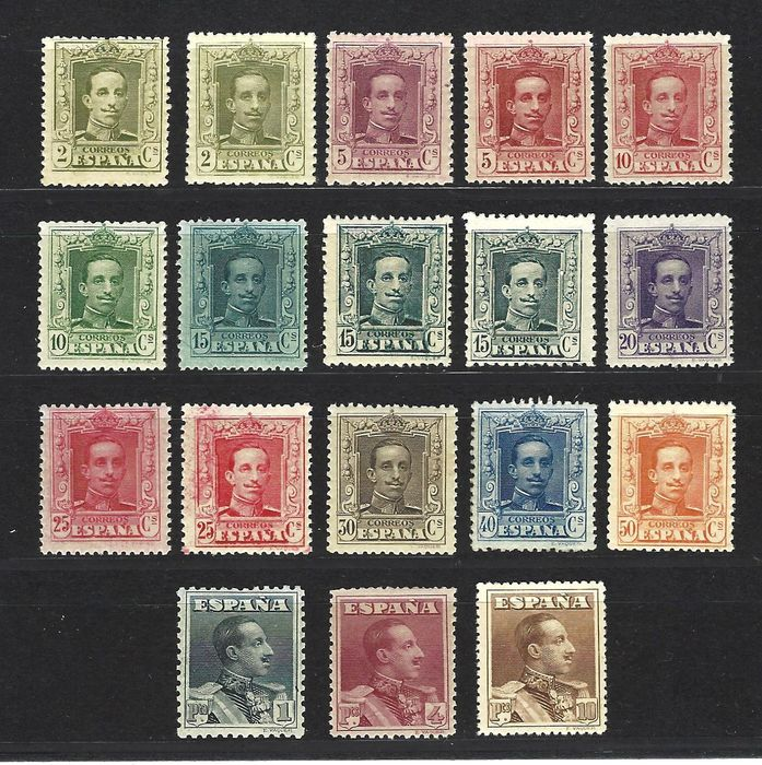 Spanje 1922/1930 - Alfonso XIII Vaquer type complete set - Edifil 310/23+ As