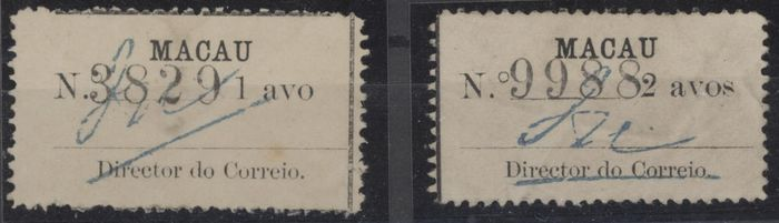 Macao - 1911 Emergency issue 1a & 2a typeset numbered stamps used, uncancelled. - Scott 162-163