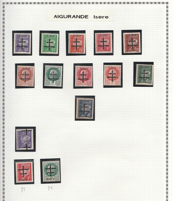 France 1944/1945 - A lovely set of liberation stamps from Aigurande to Autun, including signed ones. Value: over 3200. - mayer