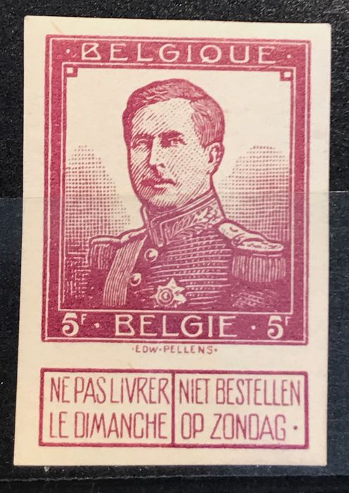 Belgique 1912 - Issue Pellens - 5fr proof WINE RED - Imperforate - indice 3 - Stes 2612