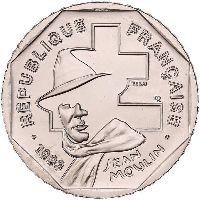 France. Fifth Republic. 2 Francs 1993 Jean Moulin. Essai