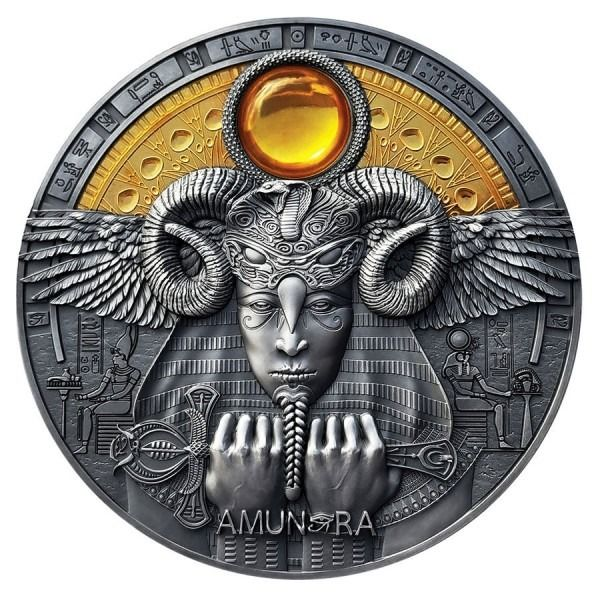 Niue. 5 Dollars 2020 Amun-Ra Divine Faces of the Sun Antique Finish Coin - 3 oz