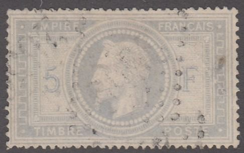 France - Empire with laurel crown - 5 francs purple-grey - Yvert 33