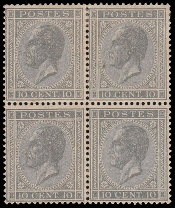 Belgien 1865 - 10 centimes King Leopold I in block of 4 - centered and Kaiser certificate - OBP / COB 17A