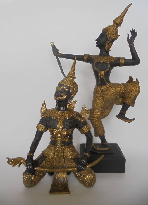 Statues (2) - Bronze - Thai bronze statue of Prince Rama and Yaksha the temple guard - Thaïlande - Fin du XXe siècle