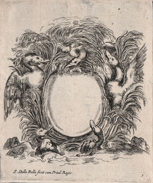 Stefano Della Bella (1610-1664) - Cartouche with ducks in the reed and dogs heads