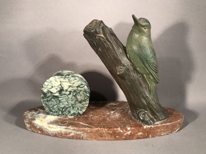 M. Leducq - Art Deco Spelter Bird Figure on a Marble Base