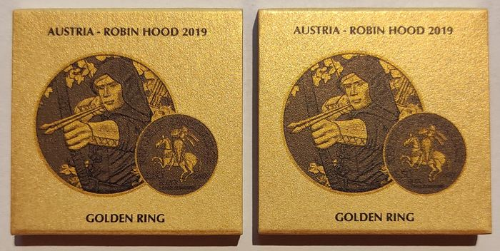 Austria. 1 1/2 Euro 2019 'Robin Hood' - type Yellow Gold & Ruthenium - with Boxes and Certificates - 2 x 1 Oz