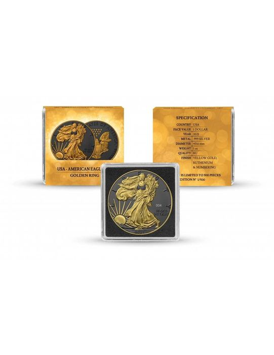 Estados Unidos. 1 Dollar 2021 - Silver Eagle - Rutheniumm Gilded Golden Ring Edition mit Box & Zertifikat - 1 Oz