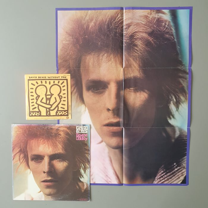 David Bowie - Space Oddity (incl. folded poster) / Without You - Diverse Titel - 7″-Single, LP Album - 1972/1984
