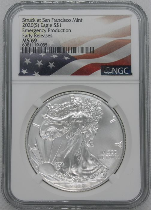 United States. 1 Dollar 10x 2020 ( S ) Silver Eagle Emergency Issue - Early Release NGC MS69 - 1 Oz