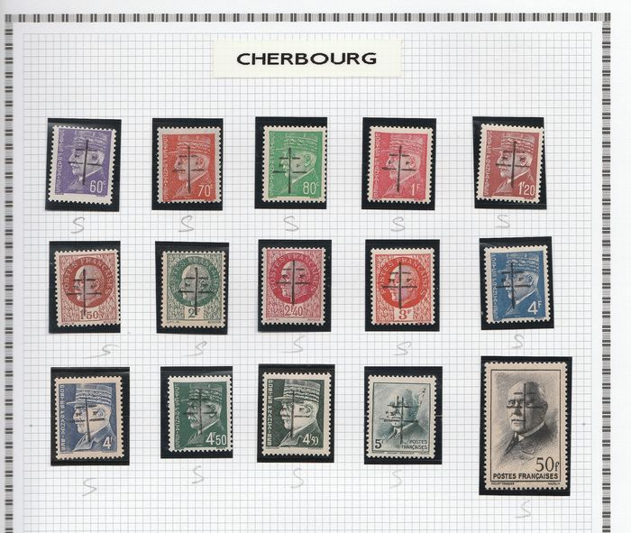 France 1944/1945 - A lovely set of liberation stamps from Cherbourg to Courcelles, including signed ones. Value: over - mayer