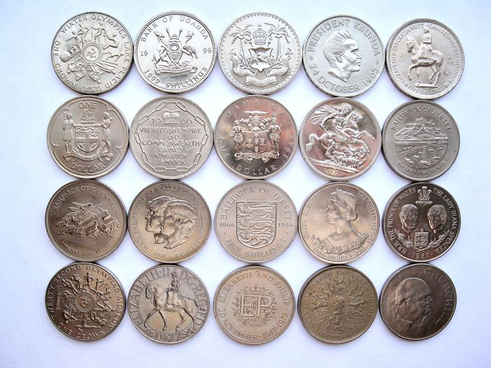 """Welt. Collection various coins 1951/1999 """"Crownsize"""" (20 different) all high grades"""