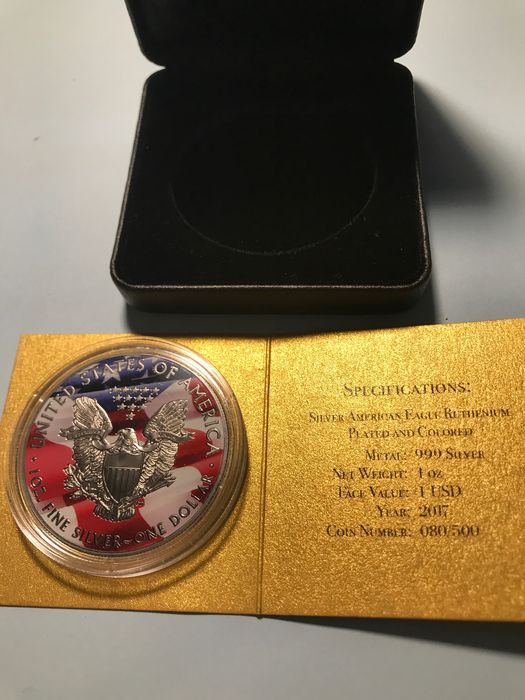 USA. 1 Dollar 2017 American Eagle Golden Noir series - Ruthenierium, Plated And colore - 1 Oz