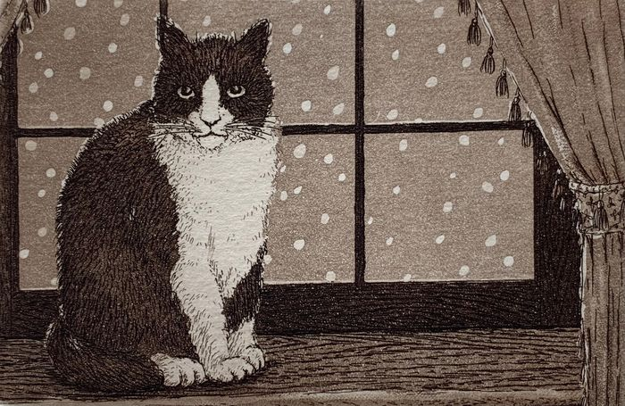 """Acquaforte - Carta di gelso - gatto, homescene - Norikane Hiroto 乗兼広人 (b 1949) - """"Cat in the window"""" - Signed and numbered 229/500 - Giappone - 1995"""