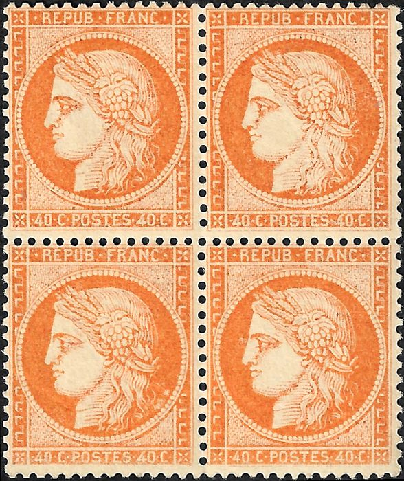 Ranska 1870 - Issue from the siege, 40 cts bright orange in block of 4. - Yvert 38 c