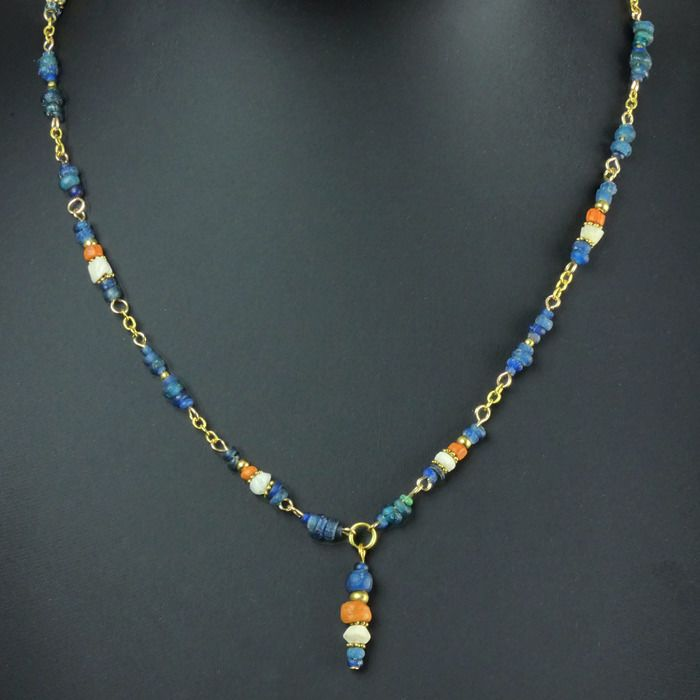 Ancient Roman Glass Necklace with blue, orange glass and shell beads - (1)
