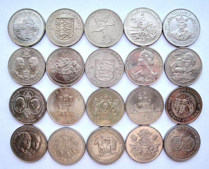 """Isle of Man, Gibraltar, St Helena, Jersey, Guernsey. Type Coin Collection """"Crownsize"""" 1966/1996 (20 different coins) all high grades"""