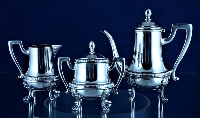 Antique - Art Deco - Cafe set - Silver - Italy - First half 20th century