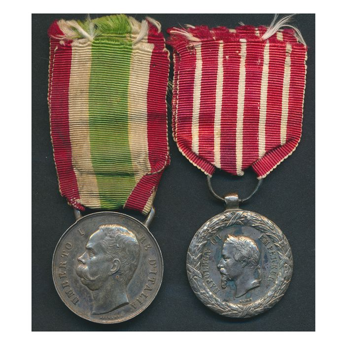 Italy - RISORGIMENTO - 1859 - War for the unification of Italy 1848/70 - 2 silver medals