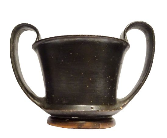 Ancient Greek Ceramic Boeotian canthare with black glaze - 5 ° S. BC - 15.7×11.2×10.5 cm