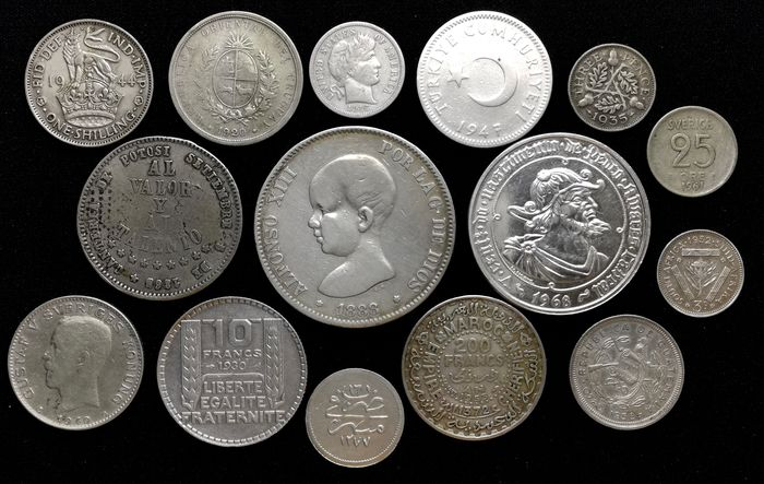 Monde. Lot various coins 1865/1968 (15 pieces)