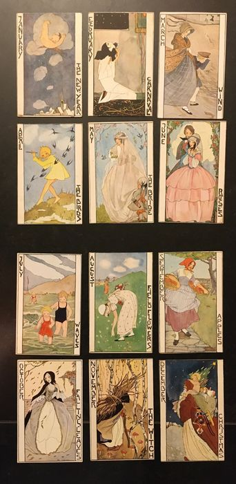 Rie Cramer: Months of the Year - Postcards (Set of 12) - 1920