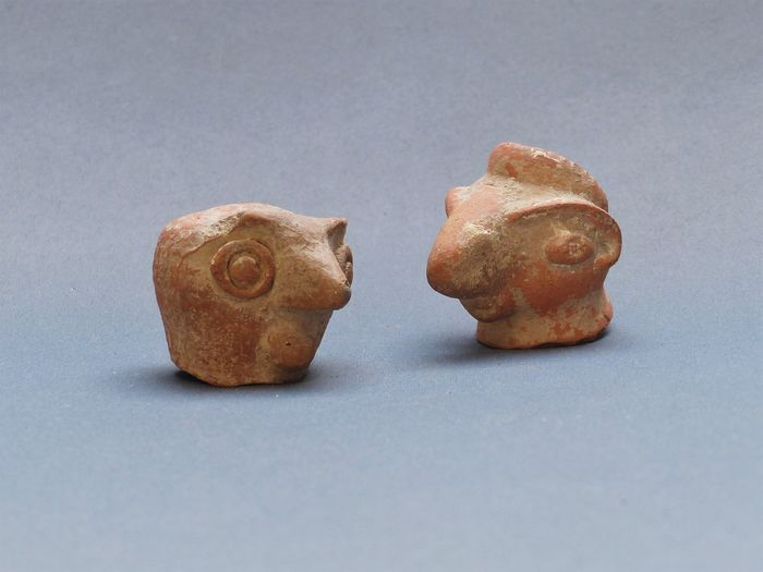 Indus Valley Earthenware twice fragment (head) mother goddess with bird-like features - 48×35×34 mm - (2)