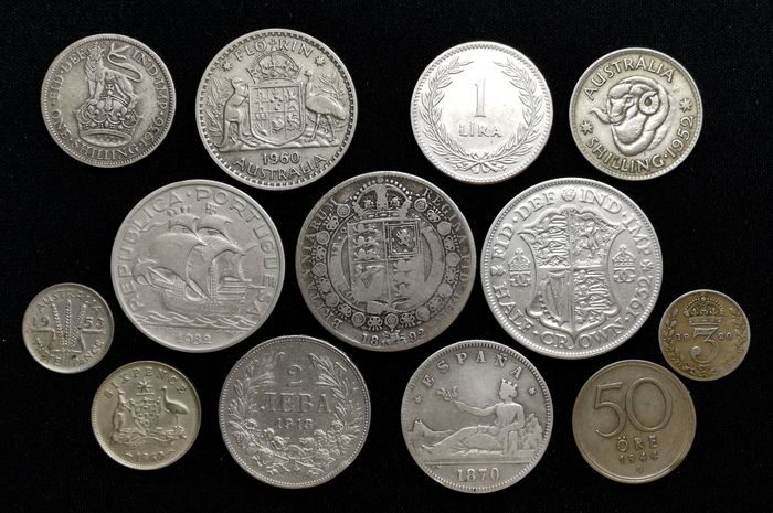 Wereld. Lot various coins 1870/1960 (13 pieces)