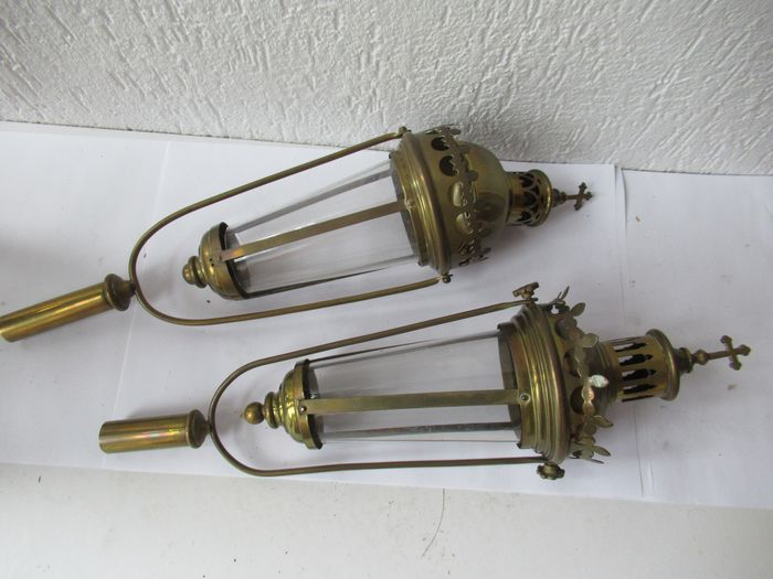 2 Copper church candlesticks processional candlesticks with glass - Copper and glass - Early 20th century