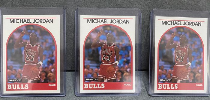 1989/90 NBA Hoops Baloncesto LOT 3x Michael Jordan 89 Nba Hoops 3rd year base card