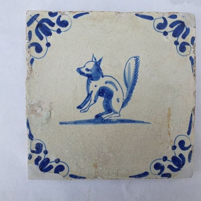 Antique tile with Squirrel (1) - Earthenware
