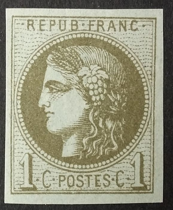 France 1870 - Bordeaux, 1 centime olive, transfer 3. - Yvert 39C