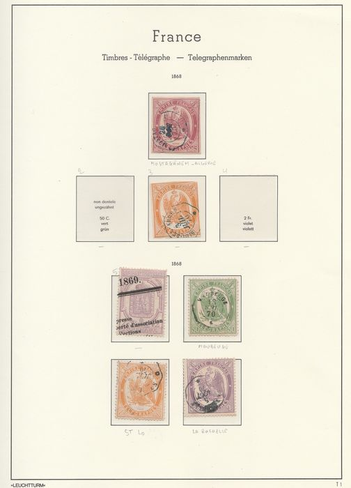 Frankreich 1868/1868 - A small set of telegraph / newspaper stamps, perforate and imperforate. Value: over 1100. - Yvert Entre les n°1 et 8