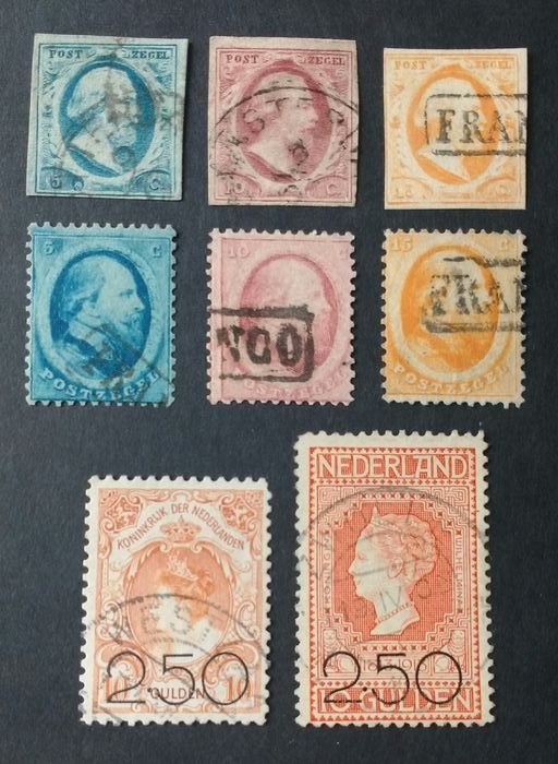 Niederlande 1852/1920 - First and second issue Willem III and Clearance issue - NVPH 1/3, 4/6, 104/105