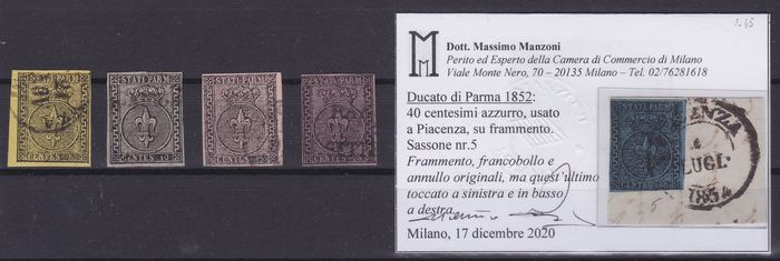 Anciens états italiens - Parme 1852 - 5, 10, 15, 25 and 40 cents 1st issue - Sassone N° 1a. - 2 - 3a. - 4 - 5