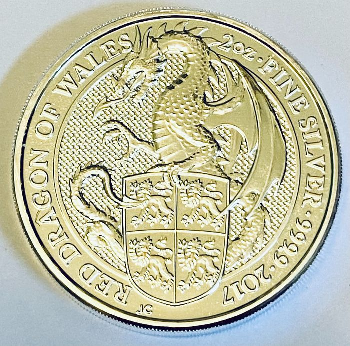 United Kingdom. 5 Pounds 2017 - Red dragon of Wales  - 2 Oz