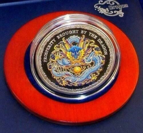 Islas Cook. 5 Dollars 2012 Proof Prosperity brought by the Dragon Blue - Colorized - with COA and Box - 1 Oz
