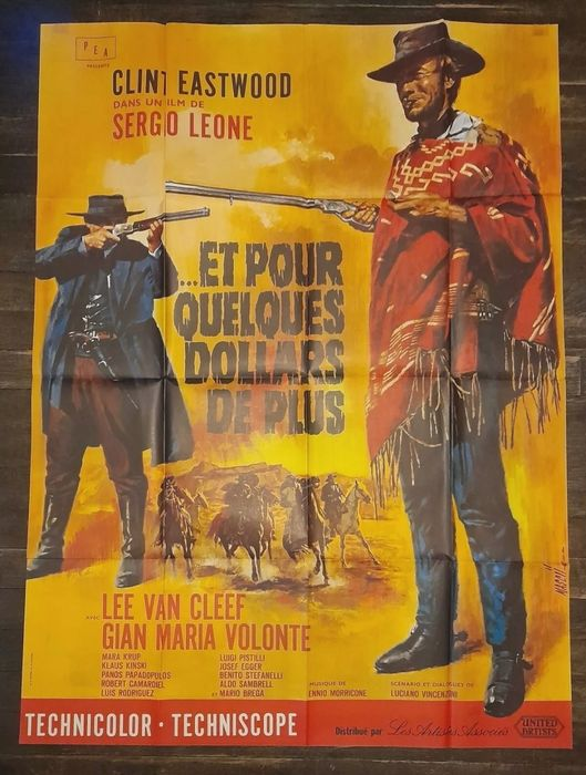 For A Few Dollars More (1965) - Clint Eastwood, Sergio Leone - Poster, French re-release 1970s - 120x160 cm