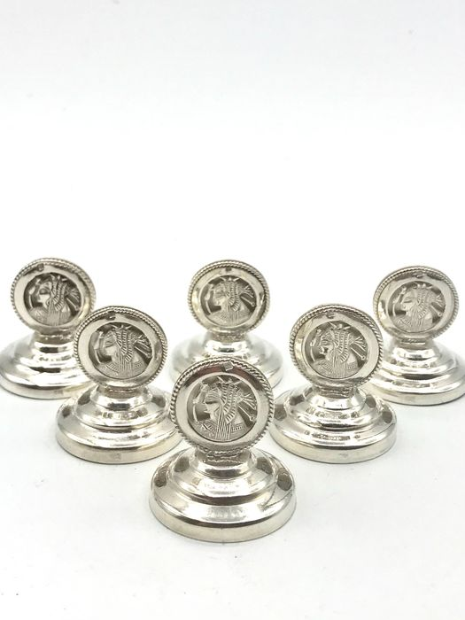 6 Pieces of open-cut silver Menu holders (6) - Silver - No reserve - Egypt - Mid 20th century
