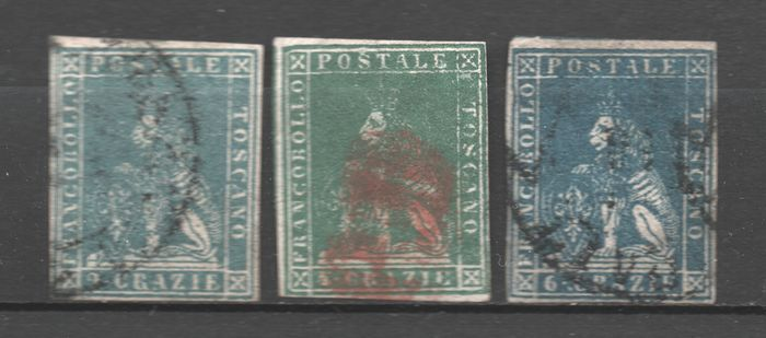 Anciens états italiens - Toscane 1857 - 2, 4, 6 cr. 2nd issue