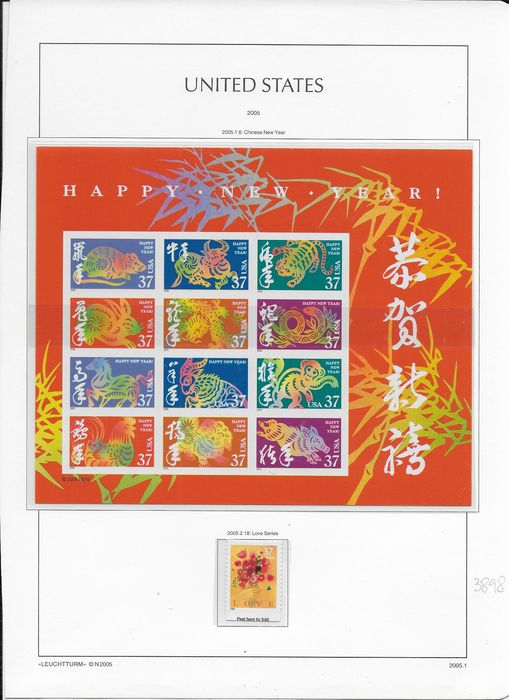 United States of America 2005 - Batch of stamps and blocks from 2005 - Scott 3896/3948