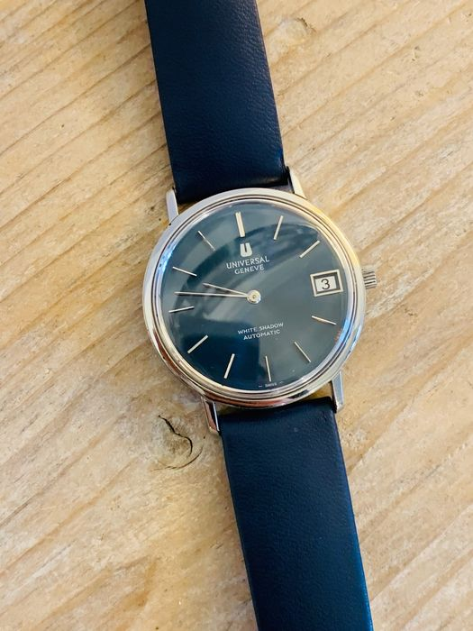 Universal Genève - rare automatic white shadow - blue dial - Homme - 1950-1959