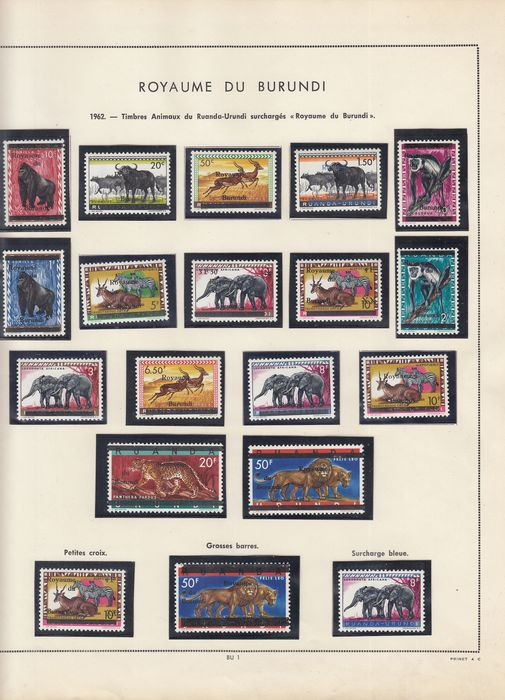 Burundi 1962/1970 - Collection in a Prinet pre-printed album, wonderful - OBP / COB OBP/COB  1 / PA 184