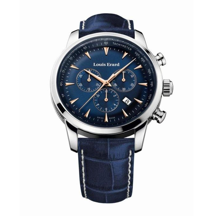 Louis Erard - Heritage Chronograph Date Blue Leather Strap - 13900AA15.BDC102 - Hombre - 2011 - actualidad